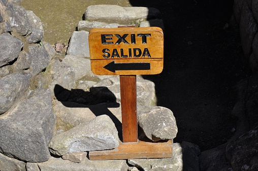Machu Picchu Wood Exit Sign